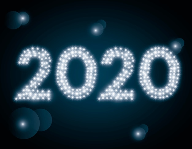 Szczęśliwego nowego roku 2020 i światła wektor wzór