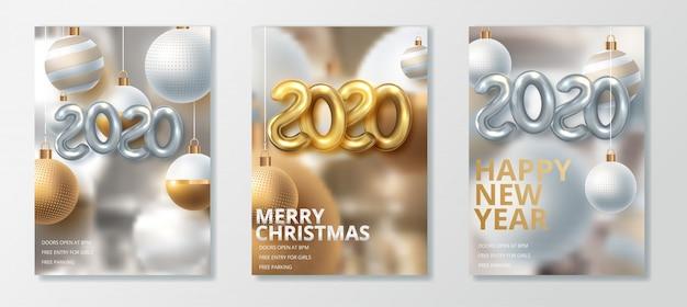 Szczęśliwego nowego roku 2020 i wesołych świąt bożego narodzenia zestaw kart okolicznościowych