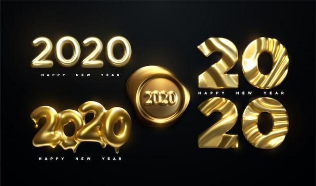 Szczęśliwego nowego roku 2020. ilustracja wektorowa wakacje. złoty realistyczny znak z liczbami 2020