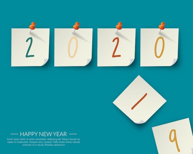 Szczęśliwego nowego roku 2020. karta z pozdrowieniami abstrakcyjny