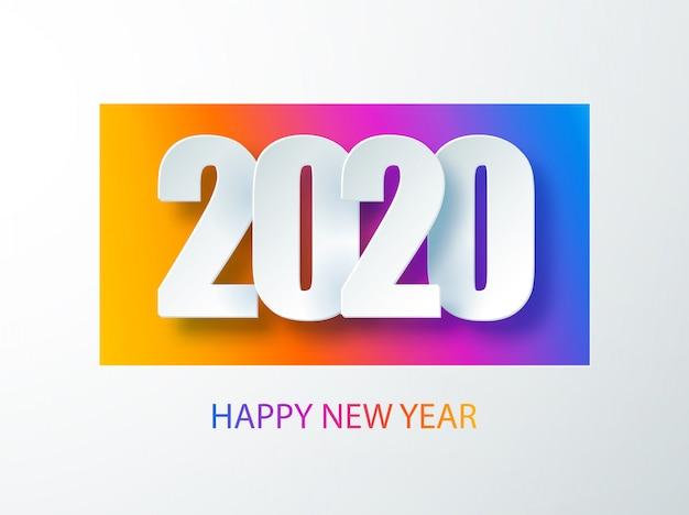 Szczęśliwego nowego roku 2020 kolorowy baner w stylu papieru na ulotki sezonowych wakacji. okładka pamiętnika biznesowego na rok 2020 z życzeniami. pozdrowienia i zaproszenia, świąteczne gratulacje i kartki.