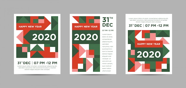 Szczęśliwego nowego roku 2020 kolorowy streszczenie plakat tryptyk
