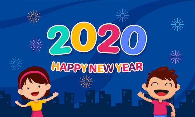 Szczęśliwego nowego roku 2020 kreskówka dla dzieci celebracja na tle nocnego nieba