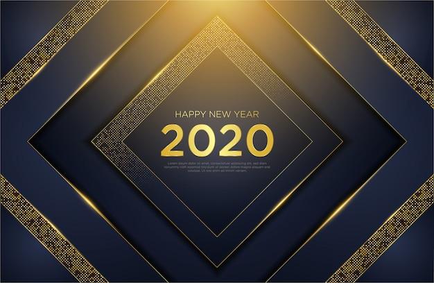 Szczęśliwego nowego roku 2020 luksusowe tło z brokatem złota