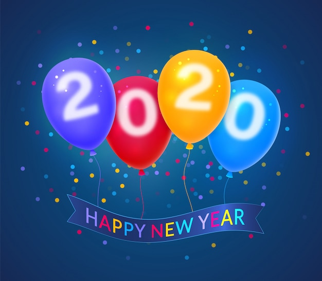 Szczęśliwego nowego roku 2020 na tle kolorowych balonów