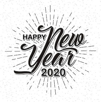 Szczęśliwego nowego roku 2020 na tle sunburst