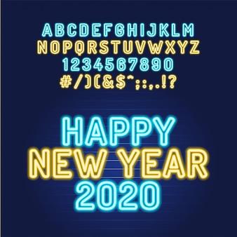 Szczęśliwego nowego roku 2020 neon rurka alfabetu czcionki. typografia dla nagłówków, plakatów itp.