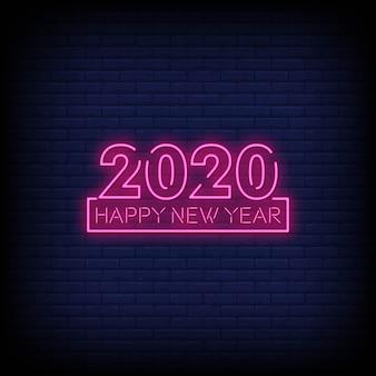 Szczęśliwego nowego roku 2020 neon sig