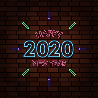 Szczęśliwego nowego roku 2020 neon tekst efekt świetlny ilustracja