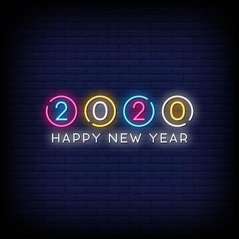 Szczęśliwego nowego roku 2020 neony styl tekst wektor