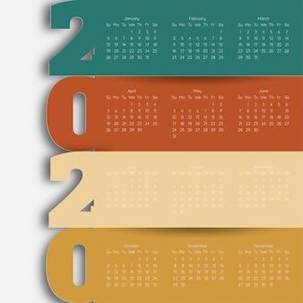 Szczęśliwego nowego roku 2020 nowoczesny szablon kalendarza. wektor / ilustracja.