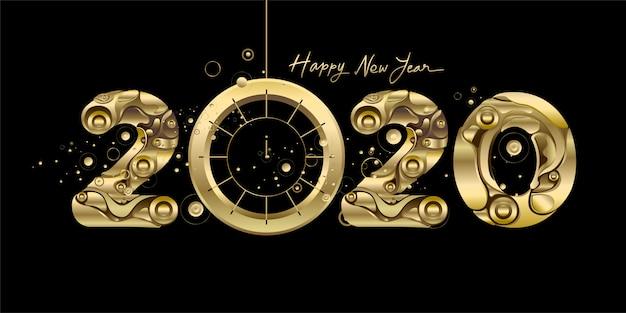 Szczęśliwego nowego roku 2020 - nowy rok czarny