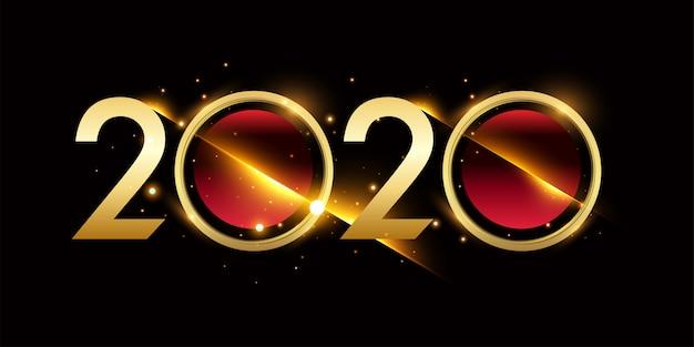 Szczęśliwego nowego roku 2020 nowy rok transparent świeci złoty