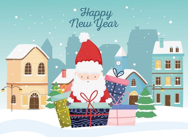 Szczęśliwego nowego roku 2020 obchody słodkie santa prezenty miasto śnieg