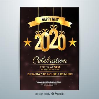 Szczęśliwego nowego roku 2020 obchody ulotki