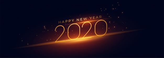 Szczęśliwego nowego roku 2020 panoramiczny baner