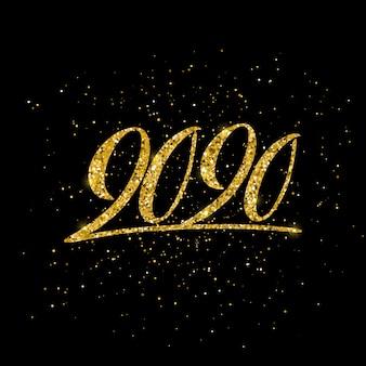 Szczęśliwego nowego roku 2020 plakat z kompozycją napisów.