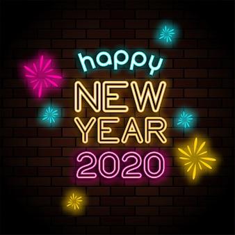 Szczęśliwego nowego roku 2020 pozdrowienie neon znak