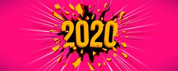 Szczęśliwego nowego roku 2020 samochód z pozdrowieniami