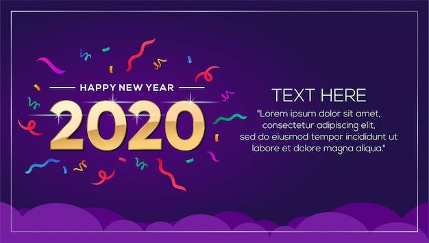 Szczęśliwego nowego roku 2020 szablon transparent tło