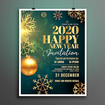 Szczęśliwego nowego roku 2020 szablon zaproszenia ulotki