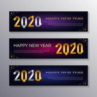 Szczęśliwego nowego roku 2020 szablony banerów