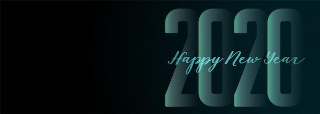 Szczęśliwego nowego roku 2020 szeroki ciemny transparent