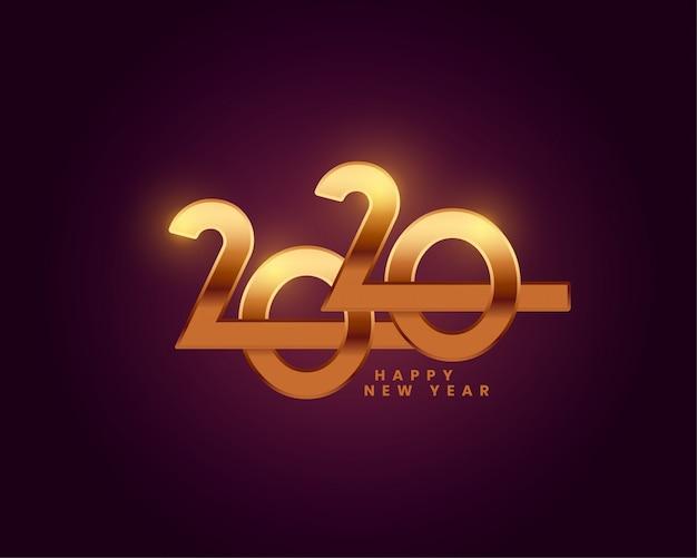 Szczęśliwego nowego roku 2020 tapeta tekstowa złota