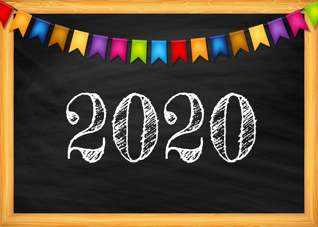 Szczęśliwego nowego roku 2020 tekst na tablicy.