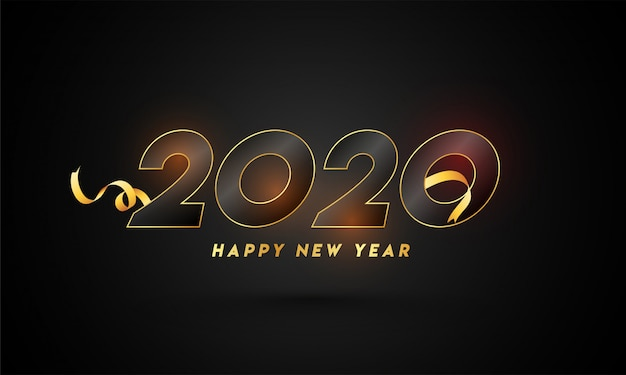 Szczęśliwego nowego roku 2020 tekst ze złotą wstążką na czarnym tle.