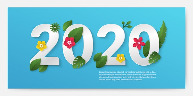 Szczęśliwego nowego roku 2020 transparent w stylu cięcia papieru