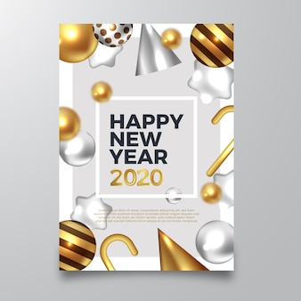 Szczęśliwego nowego roku 2020 ulotka z realistycznymi złotymi dekoracjami