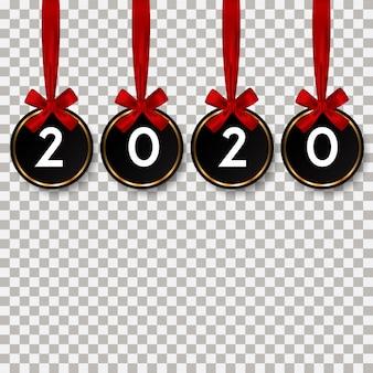 Szczęśliwego nowego roku 2020 z czerwoną wstążką