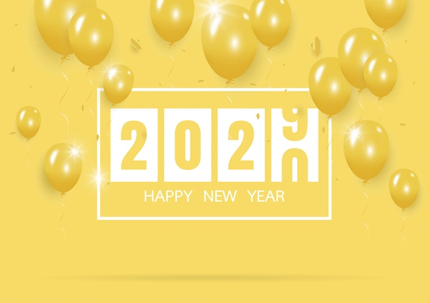 Szczęśliwego nowego roku 2020 z kreatywnym żółty balon