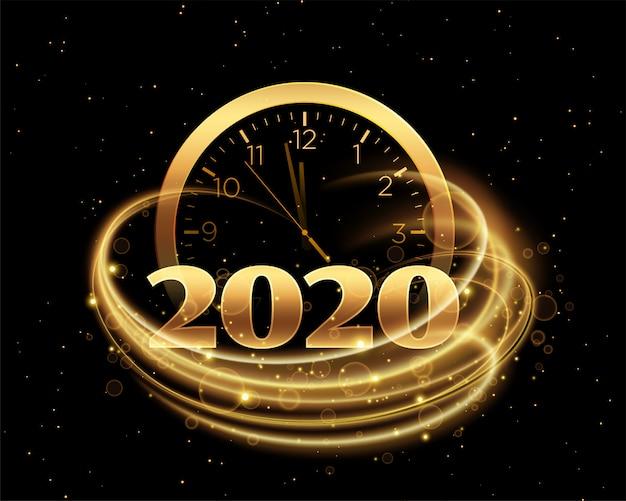 Szczęśliwego nowego roku 2020 z zegarem i złotą smugą