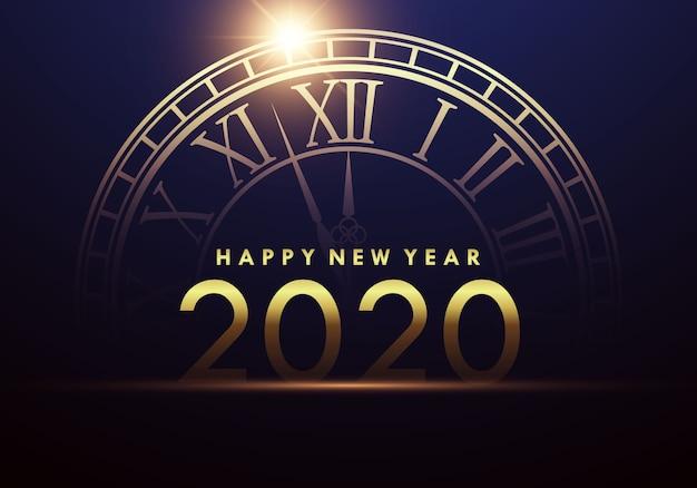 Szczęśliwego nowego roku 2020 z zegarem wskazującym początek nowego roku.