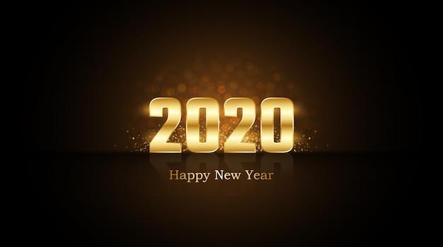 Szczęśliwego nowego roku 2020 ze złotymi cyframi z roziskrzonym brokatem i refleksją na czarno