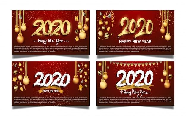 Szczęśliwego nowego roku 2020 zestaw banner