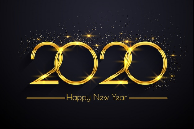Szczęśliwego nowego roku 2020 złoty tekst tło