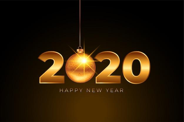 Szczęśliwego nowego roku 2020 złoty z bombką