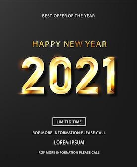 Szczęśliwego nowego roku 2021 banner. złoty tekst luksusowy wektor 2021 szczęśliwego nowego roku.