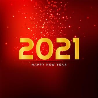 Szczęśliwego nowego roku 2021 blask koloru czerwonego tła