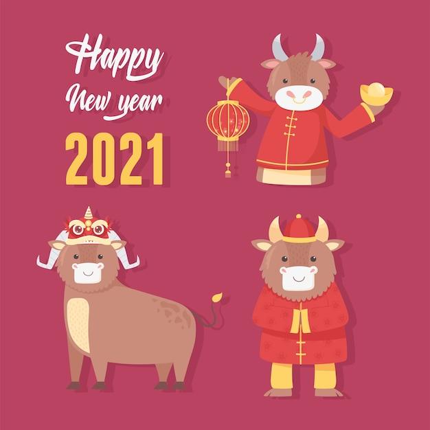 Szczęśliwego nowego roku 2021 chiński, sezon znaków woły kart z pozdrowieniami