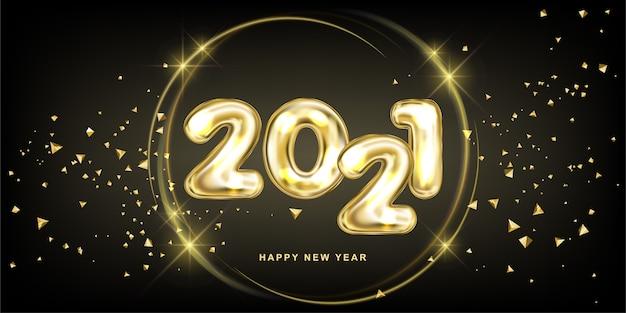 Szczęśliwego nowego roku 2021. gala ilustracja metalicznego napisu.