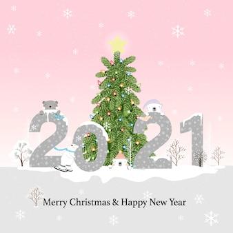 Szczęśliwego nowego roku 2021 i wesołych świąt na niebieskim pastelu z niedźwiedziem polarnym i lasem sosnowym, płaska kreskówka kawaii