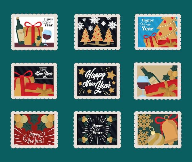 Szczęśliwego nowego roku 2021, ikony znaczków pocztowych z butelką wina