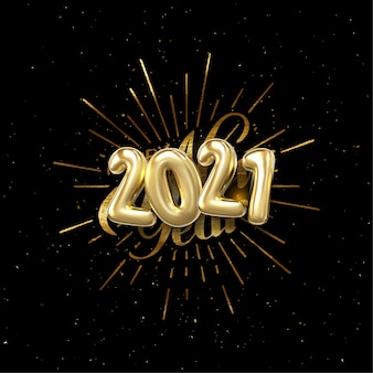 Szczęśliwego nowego roku 2021. ilustracja wakacje z składem literowym i wybuchu. złota teksturowana etykieta vintage