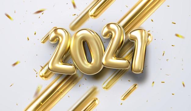 Szczęśliwego nowego roku 2021. ilustracja wakacje złotych 3d prymitywów geometrycznych i liczb bąbelkowych 2019. świąteczne śpiewanie z błyszczącymi konfetti. modny projekt okładki
