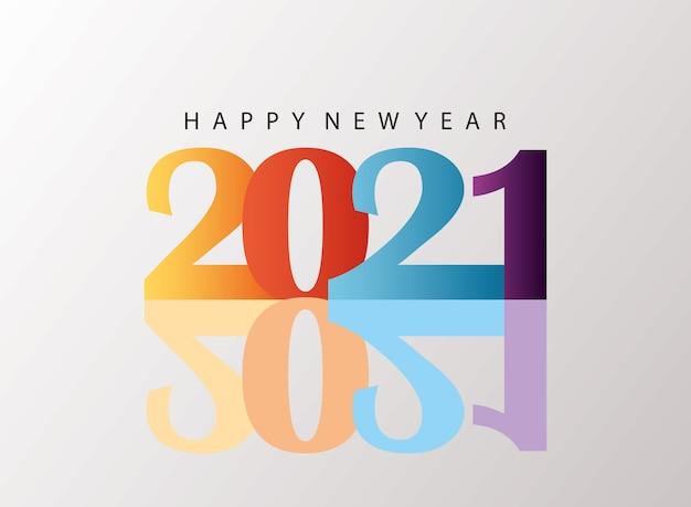 Szczęśliwego nowego roku 2021 kolorowa karta z ilustracją cienia
