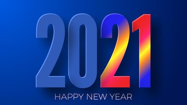 Szczęśliwego nowego roku 2021 kolorowe tło.